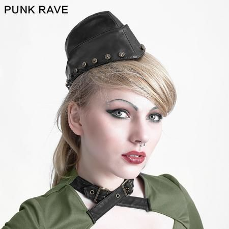 newest winter black metal studded leather military hats accessories
