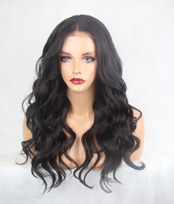 Long Length Wavy Darkest Brown Mix 4 Deep Centre Etsy In 2020 Heat Styling Products Synthetic Hair Wigs