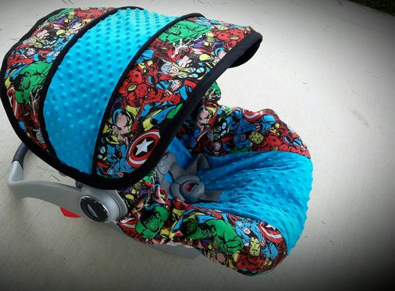 Marvel super hero infant car seat cover Custom by BABYCOVERS2010