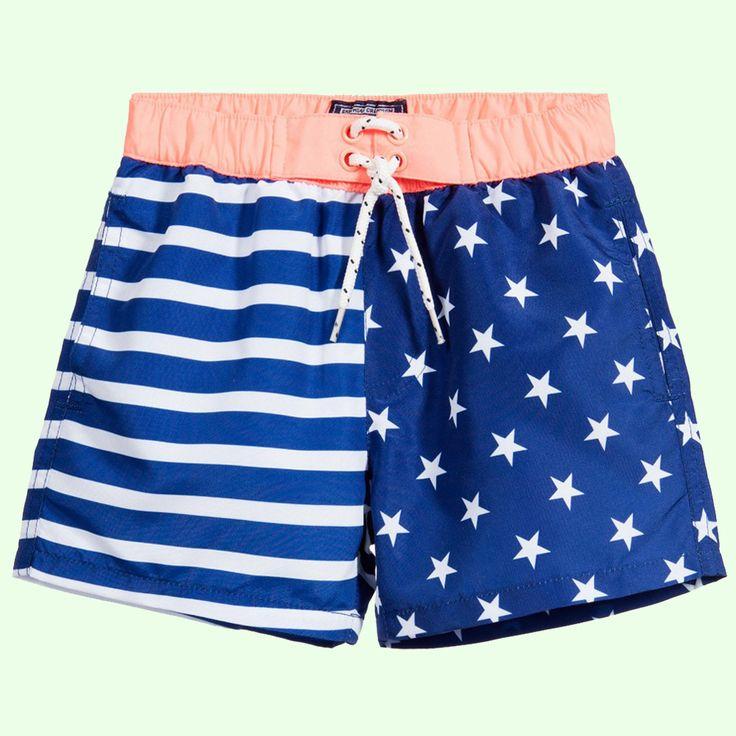Mayoral Boys Stripes & Stars Blue Swim Shorts
