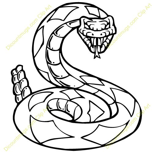 Clipart 13228 rattlesnake - rattlesnake mugs, t-shirts, picture mouse pads, & more