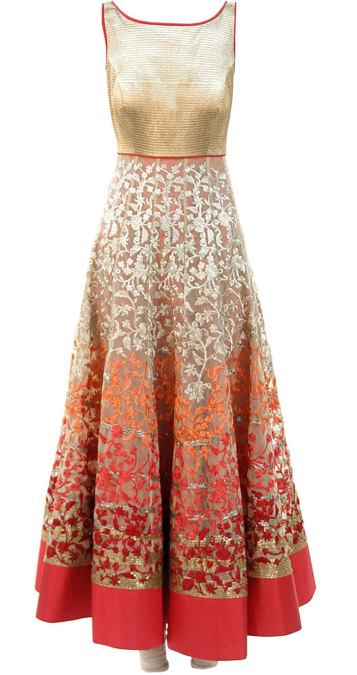 Ivory anarkali with multicolour embroidery available only at Pernia's Pop-Up Shop. Beautiful gown