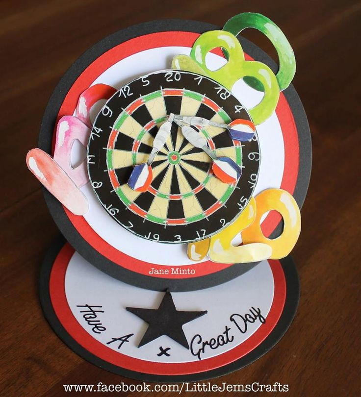 Darts birthday card - circle easel style - handmade card by MintsDesigns on Etsy
