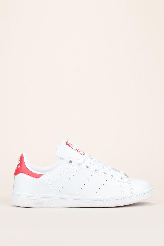 Sneakers cuir blanc perforé talon rouge Stan Smith  - Adidas Originals