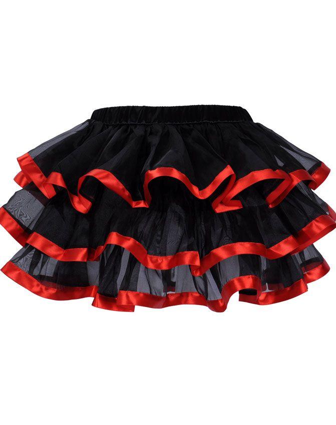 Zwart met rood chiffon rokje met elastische band. Afgewerkt met satijn. Kleur: zwart/rood. Maten: S/M, M/L