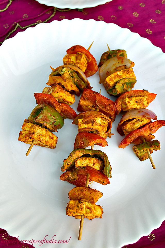 paneer tikka - spiced marianted grilled cottage cheese cubes.