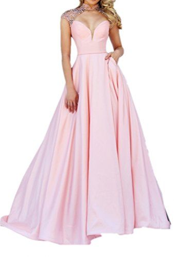 Prom UK Women's Deep V-neck Open Back Formal Gown Long Prom...