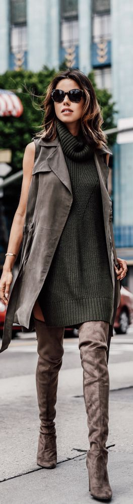 Street style | Turtle neck sweater dress with khaki vest and over the knee boots | Latest fashion trends