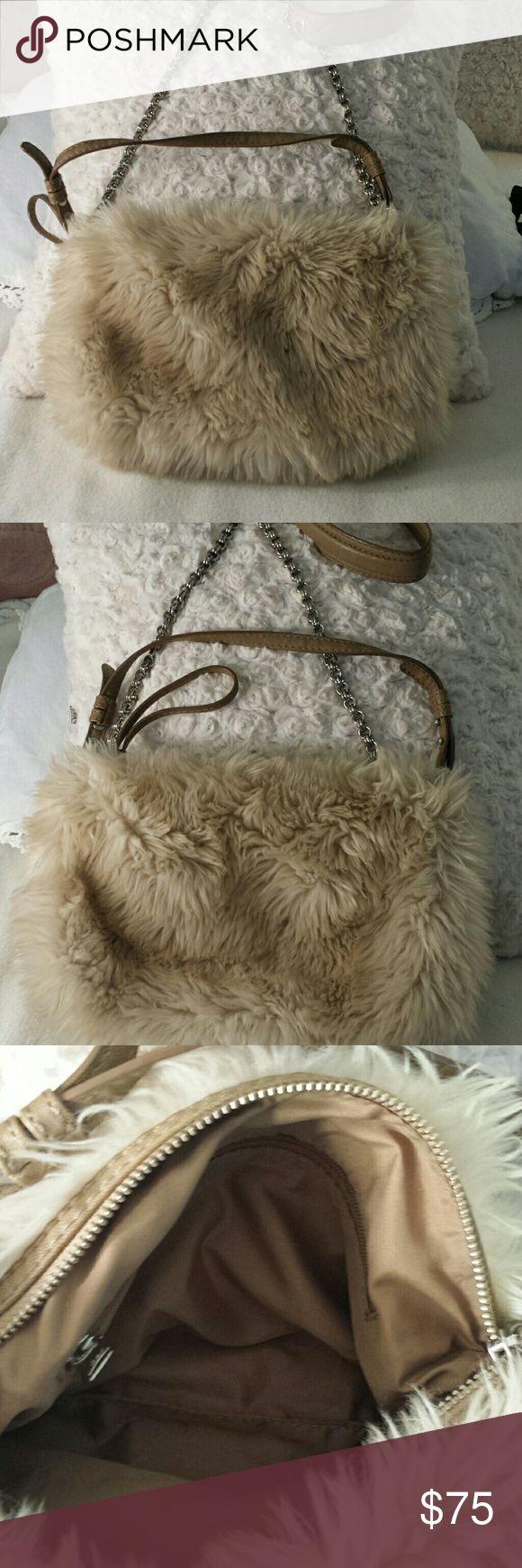 Super cute gap faux fur  crossbody /hand/clutch ba Gap faux fur bag!  Great condition  Unique Gap Bags