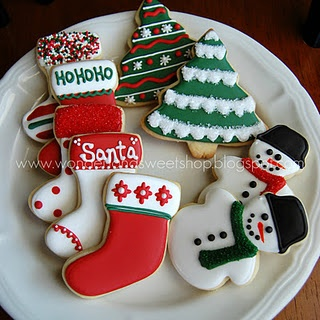 Christmas cookies in red and green
