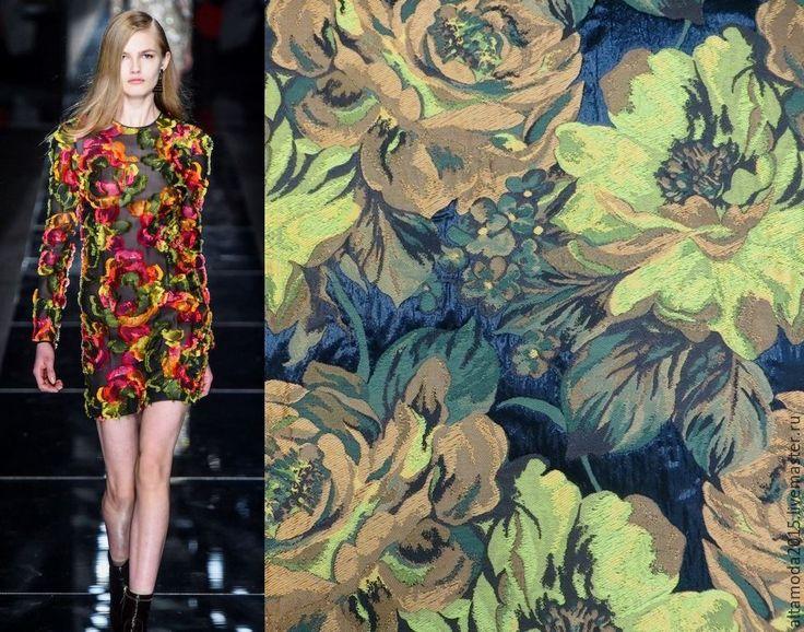 Купить Жаккард крупные цветы 3 цвета, ткань Италия - комбинированный, альта мода, от кутюр