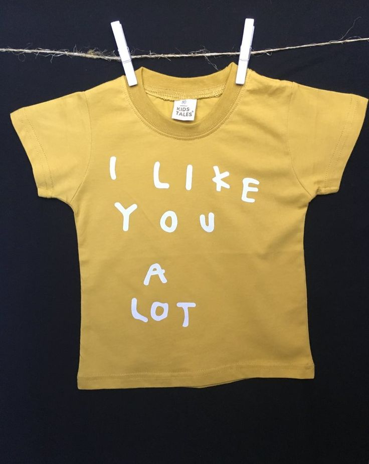 I Like You a Lot | Cotton printed tee on mustard yellow shirt  for boys or girls | Sizes range from baby to toddler | Boutique clothing for kids