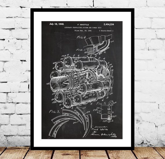 Jet Engine Patent, Jet Engine Poster , Jet Engine Blueprint , Jet Engine Art, Jet Engine Print, Jet Engine Wall Art, Airplane by STANLEYprintHOUSE  0.79 USD  This is a vintage patent print. The Jet Engine from 1941.  This poster is printed using high quality archival inks, and will be of museum quality. Any of these posters will make a great affordable gift, or tie any room together.  Please choose between different sizes and colors.  The ..  https://www.etsy.com/ca/listing/2311258..