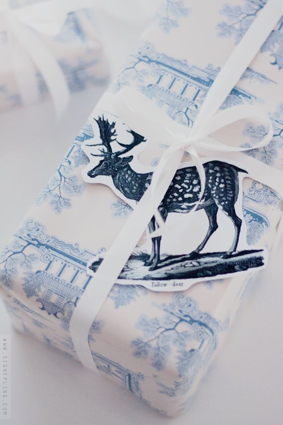deer and pale blue china chinoise gift wrap with white ribbon - pretty and vintge