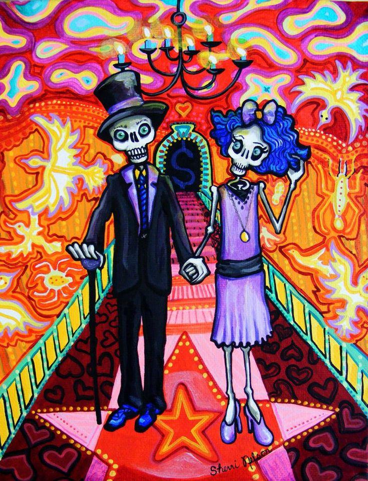 Calavera Wedding - Day of the Dead Art Print - Sugar Skull mexican folk painting