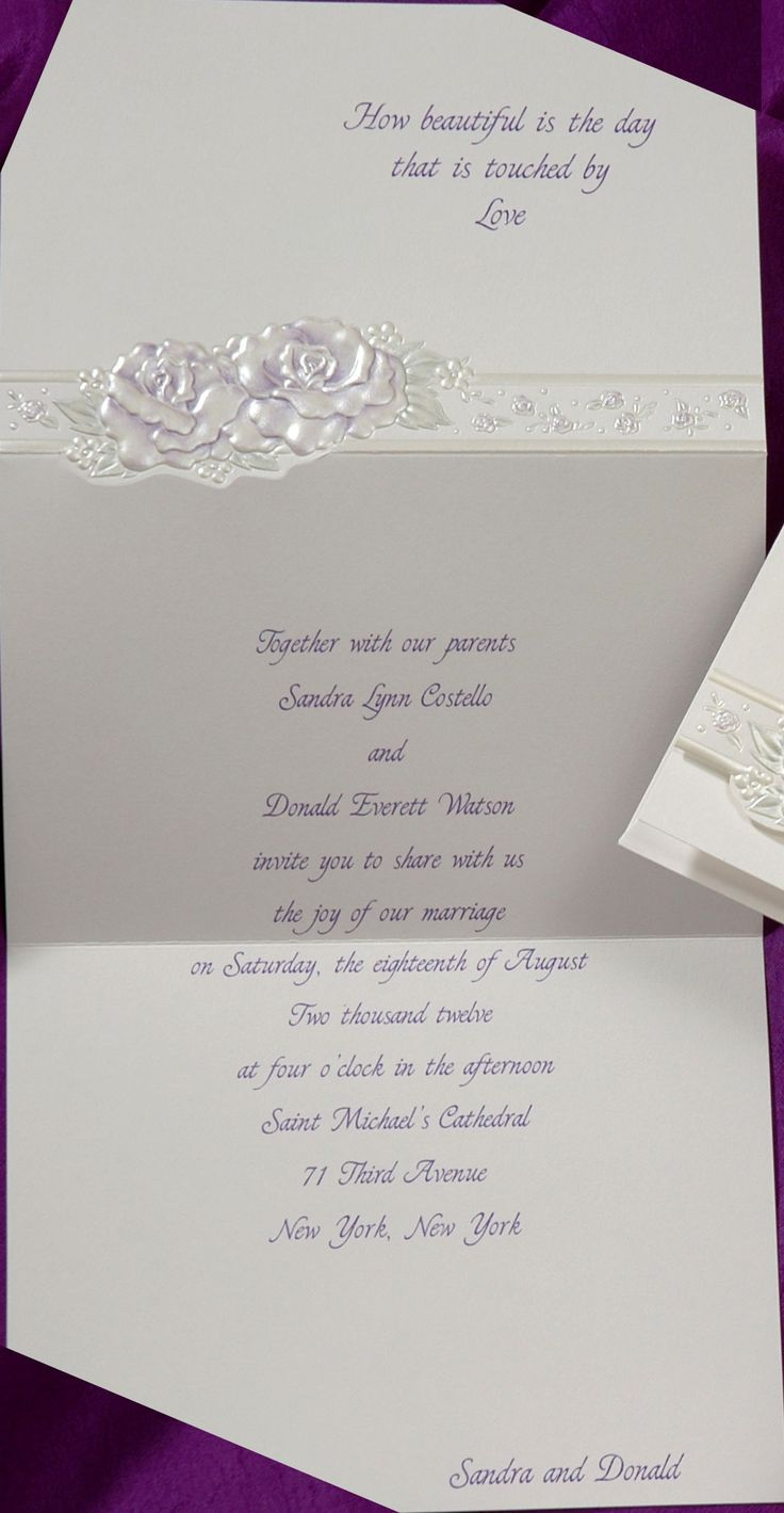 wedding invitation quote in english%0A This adorable invitation has beautifully embossed roses in purple on the  front  Your favorite quote