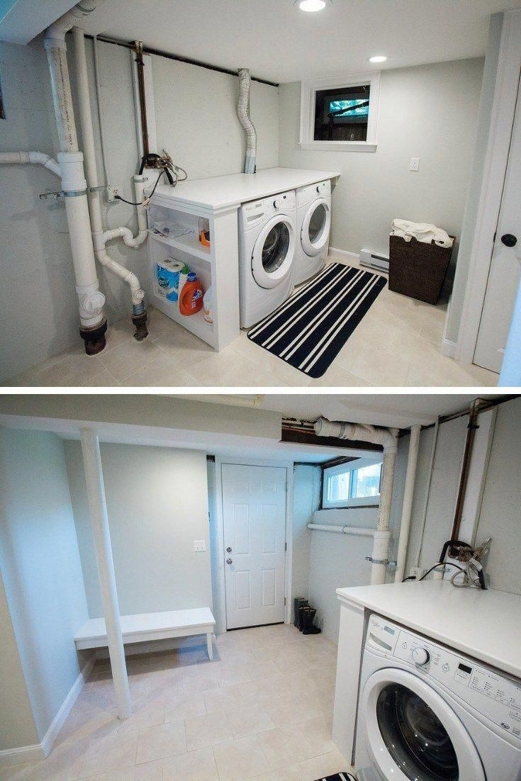 17+ Functional Basement Laundry Room Ideas 1719 #unfinished