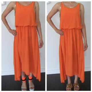 """Embellished High-Low Dress-Orange(Made In Korea). QTY:1 Length:47.5"""" Bust:30-36"""" Waist:24-32""""  Was:50   Now CAD$25"""