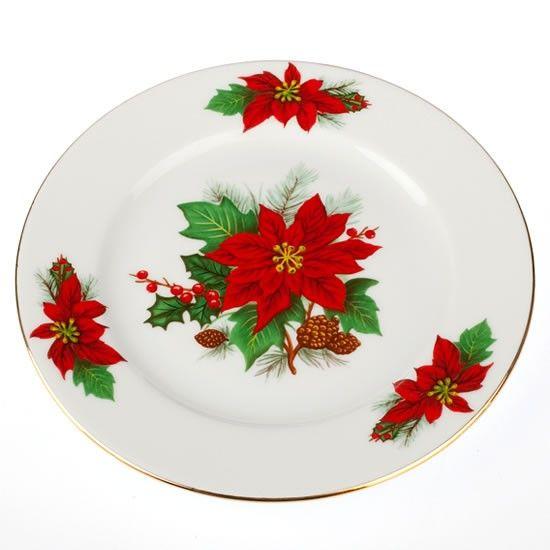 Εορταστική πρόταση για σας που τα Χριστούγεννα έχουν χρώμα κόκκινο-πράσινο-χρυσό. Σετ 6 τεμαχίων πιατάκια γλυκού, από φίνα πορσελάνη, σχέδιο Αλεξανδρινό.