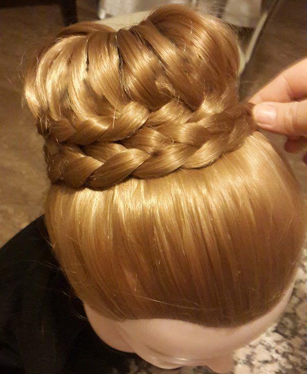 Saç Modeli 7 - Örgülü topuz modeli, Braided bun hairstyle / Fermoon