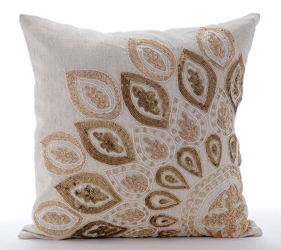Natural Beige Pillow Cases 16x16 Couch Pillows Embroidered Linen Pillow Cover - Gold Charm