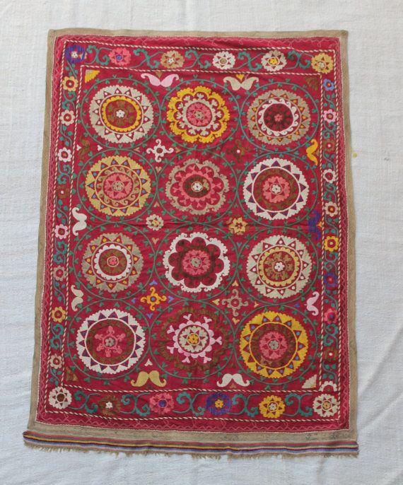 Traditional Handmade Vintage Suzani Embroid #housewares #bedroom #bedding @EtsyMktgTool  #traditional #handmade #rectangle #naturalcolors