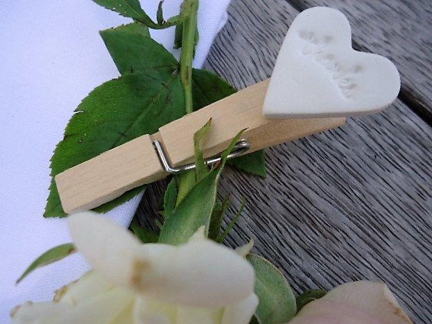 Wedding Clay Heart on a Peg - Set of 25 by MYMIMISTAR on Etsy