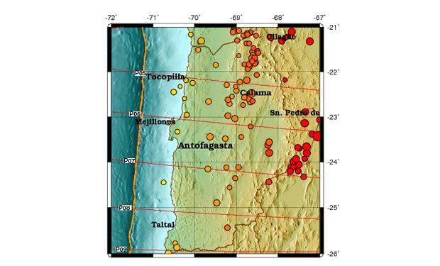 """Las últimas semanas se ha registrado un enjambre de sismos en el norte del país, el más reciente siendo en la madrugada de hoy con una magnitud de 5,7 Richter y originándose a 83 kilómetros al noreste de Sierra Gorda.  """"En el norte de Chile siempre hay una alta tasa de sismicidad"""" indicó Sergio Ruiz,sismólogo de la Universidad de Chile, aLa Tercera""""Se puede hablar de un enjambre sísmico, sismos que ocurren de forma muy concentrada y de intensidades similares""""."""