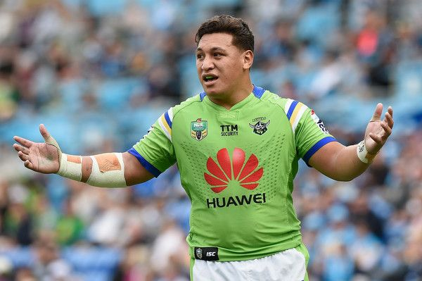 Josh Papalii of the Canberra Raiders reacts during the round 16 NRL match between the Gold Coast Titans and the Canberra Raiders at Cbus Super Stadium on June 26, 2016 in Gold Coast, Australia.