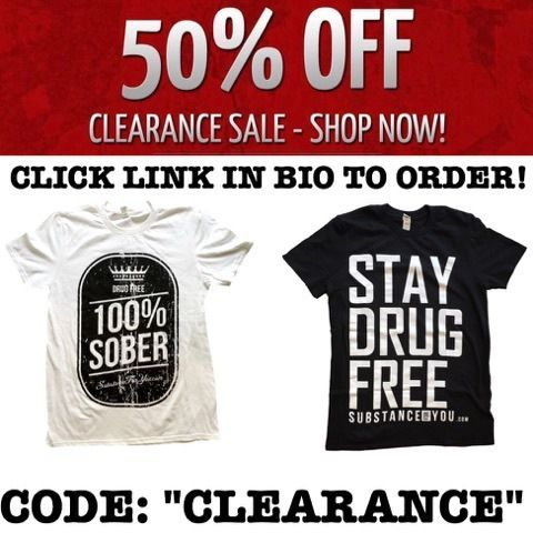 """Clearance means it's all going out of stock! Get your shirts and sizes while we have them before our rebranding experience goes down! Send us a photo wearing to end the stigma!   use code """"CLEARANCE"""" for 50% off the whole order by clicking the link in our bio to redirect to our site now! SubstanceForYou.com   #recoveryispossible #sober #soberlife #sobriety #sobermovement #Soberissexy #partysober #recovery #vlog #vlogger #videoblog #blog #blogger #addictionrecovery #recoveryroad…"""