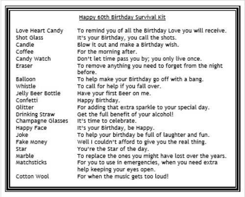 image 60th birthday survival kit - Google Search