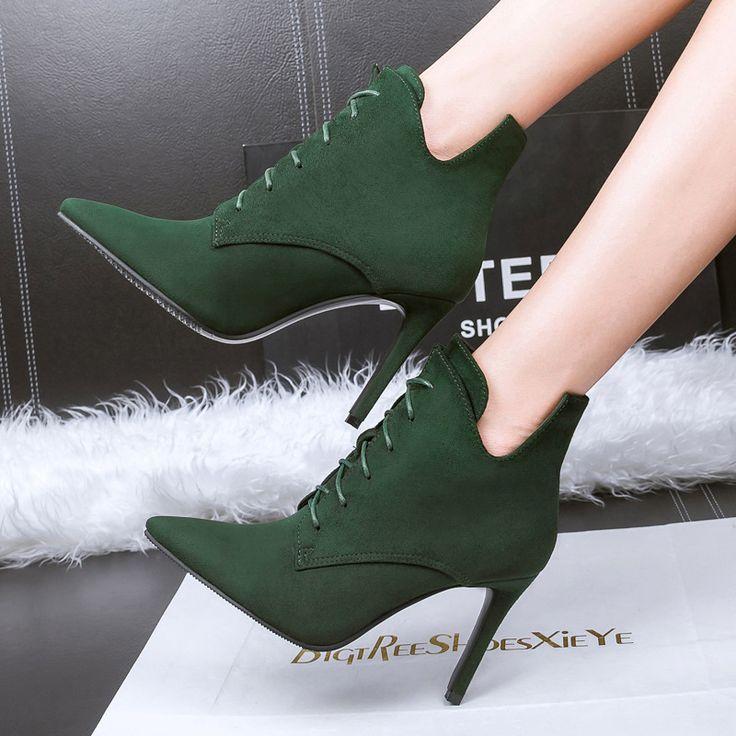 Женщины узелок мартин сапоги острым носом на высоком каблуке ботинки женщин новый 2016 сексуальная стадо женская обувь повседневная ню каблуки ботильоны