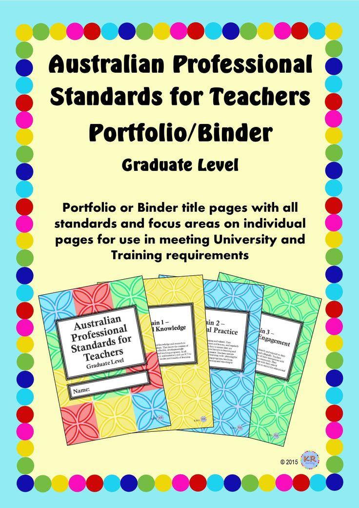 Graduate Teacher Level - Australian Professional Standards for Teachers Print Portfolio Binder by KR Learning