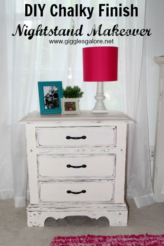 Need a nightstand makeover? Transform an outdated piece of furniture with DIY Chalky Finish Paint to achieve an updated vintage, time-worn look.