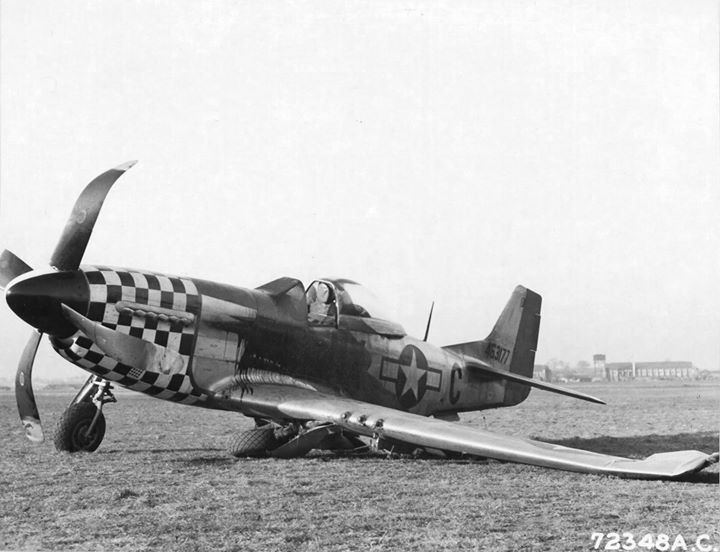 On this day in history: Melvin Hoffman of the 82nd Fighter Squadron made the best landing he could under the circumstances in his P-51D Mustang at RAF Duxford Cambridgeshire England United Kingdom 4 January 1945. Note oil covering the windscreen and engine cowling.