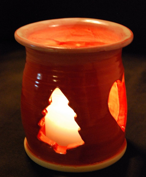 Christmas votive pottery candle holder pottery art for Christmas pillar candle holders
