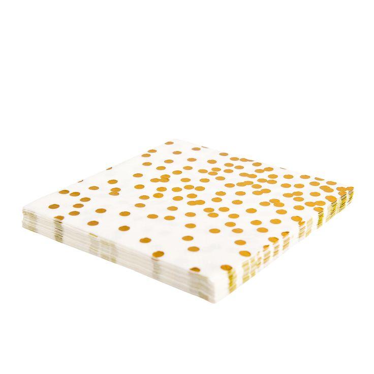 Gold confetti napkins.