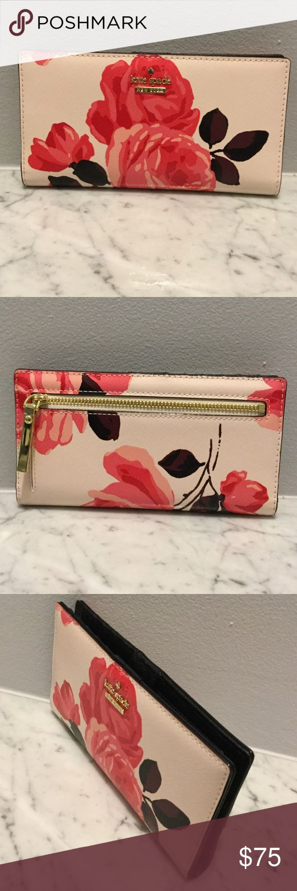 """Kate Spade Wallet Cameron Street Stacy. Color: Rose / Pink Sand.   12 card slots, 4 billfold , one exterior zipper. New , from a KS Sample sale. 7"""" x 3.5"""" kate spade Bags Wallets"""