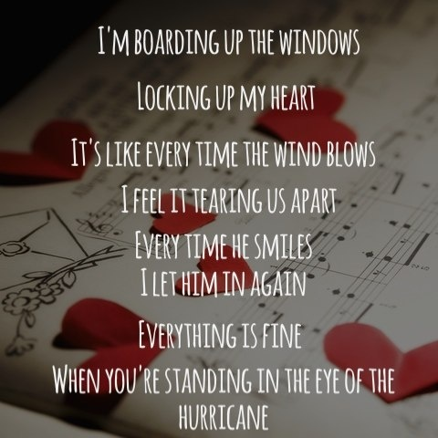 "-- #LyricArt for ""Hurricane"" by Bridgit Mendler"