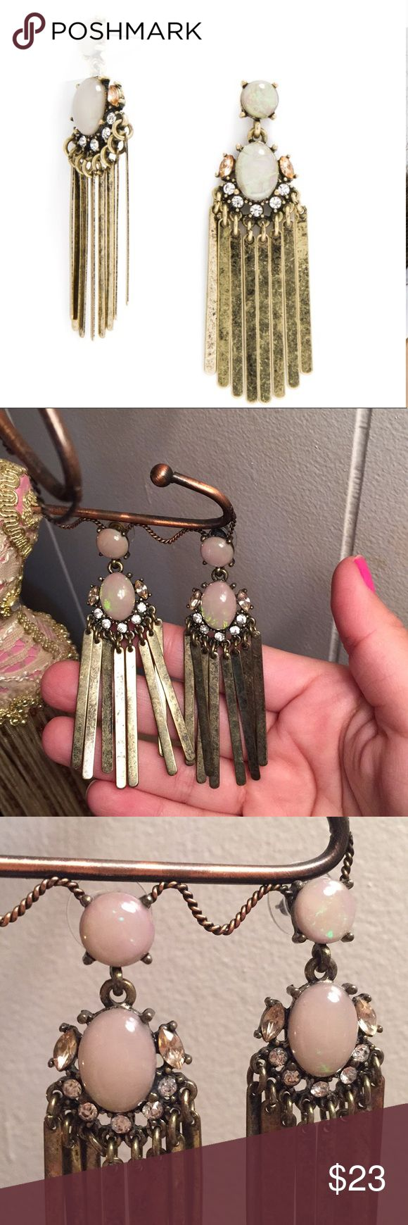 "NWOT Opal titan fringe drop earrings by baublebar NWOT, Opal, dangling, fringe, antique, brass color, stud dangles, sparkly and super cute!!  Measurements Length: 3""; width: 0.8""; weight: 0.3 oz. lightweight baublebar Jewelry Earrings"
