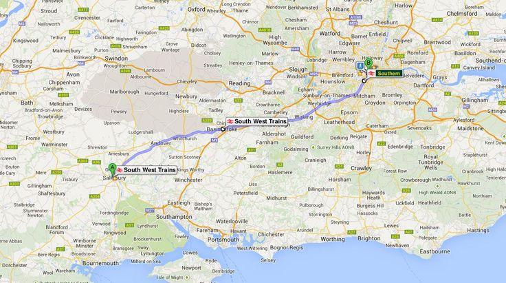 Salisbury'den Londra'ya tren rotası.. / from Salisbury to London train route..