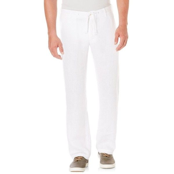 Perry Ellis Linen Drawstring Pants ($48) ❤ liked on Polyvore featuring men's fashion, men's clothing, men's pants, men's casual pants, bright white, mens linen drawstring pants, mens drawstring pants, mens linen pants, mens zipper pants and mens zip off pants