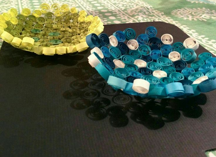 Paper quilled shallow bowls