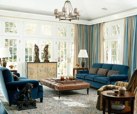 Great color scheme ... everything is cued in this room ... also the oriental details  :-): Rich Color, Velvet Couch, Blue Living Rooms, Blue Sofa, Blue Couches, Teal Sofa