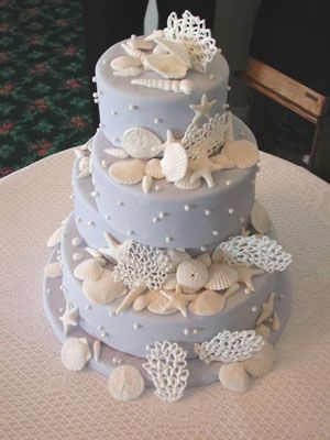 Wedding Cakes Pictures: Blue Wedding Cakes with Sea Shell Pictures