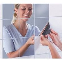Wish | 9pcs/set Square Mirror Tile Wall Stickers 3D Removable Decal