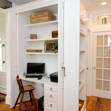 what a great use of a small space a built in office right off your kitchen
