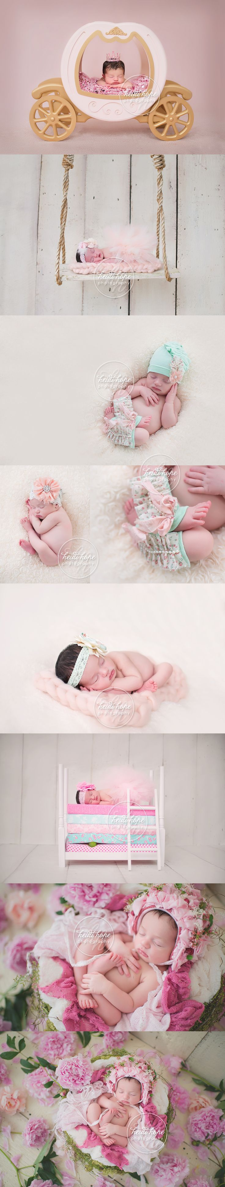 newborn baby girl and flowers princess carraige and sleeping on bed with pea web