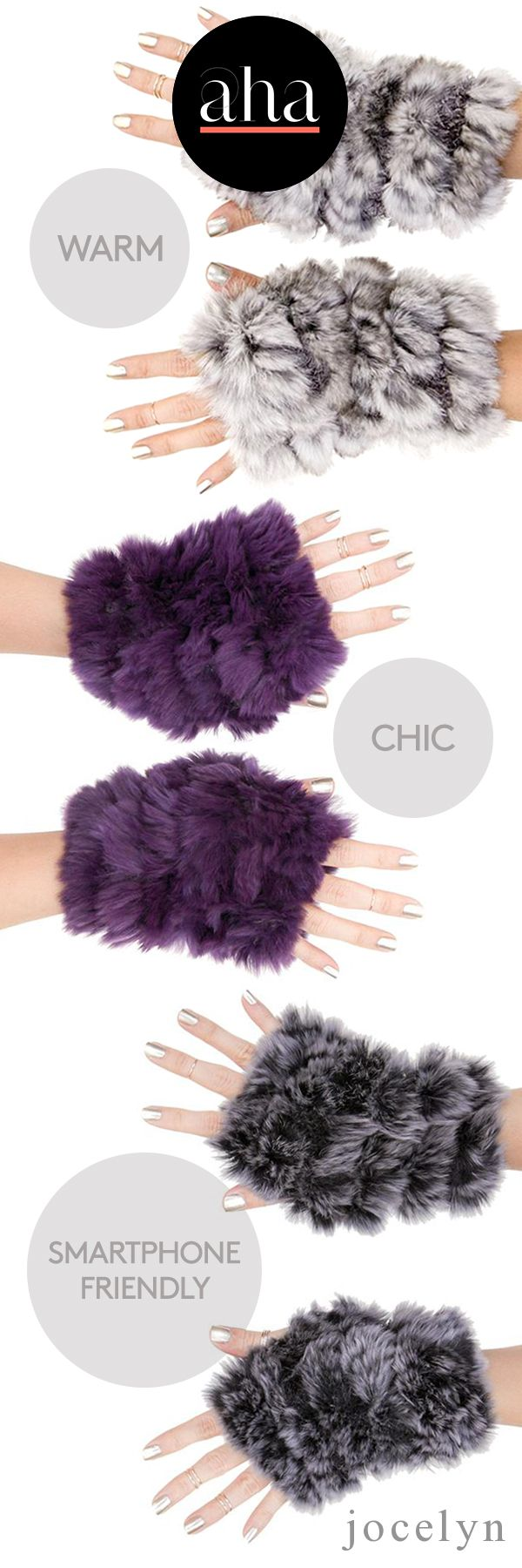 Jocelyn - Warm, chic, smartphone friendly Fingerless MIttens show a casual fashion forward street style, and a touch of glam. Shop now: http://www.ahalife.com/jocelyn?utm_source=Pinterest&utm_medium=ads&utm_campaign=Jocelyn_Android&rw=0
