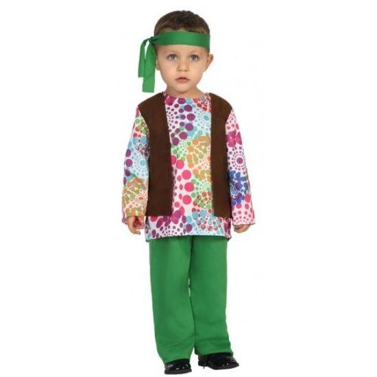 Hippie kostuum voor peuters. Het kostuum bestaat uit een shirt, gilet, broek en bijpassende hoofdband. Materiaal: 100% polyester.